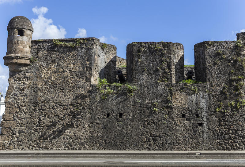 Fort Saint Louis in Fort-de-France, Martinique. Wall of Fort Saint Louis in Fort-de-France, Martinique stock photography