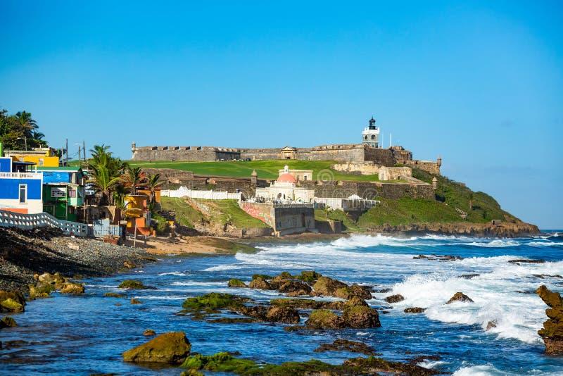 Fort San Felipe Del Morro à San Juan, Puerto Rico au lever de soleil image stock