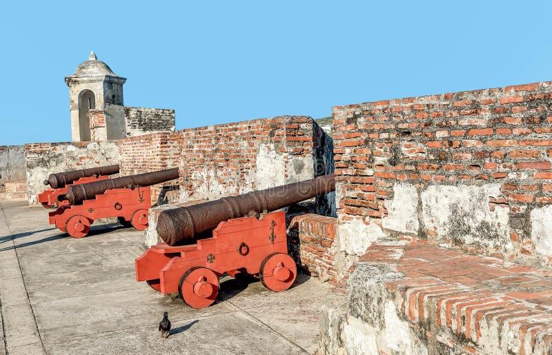 Fort San Felipe i den gamla staden Cartagena, Colombia royaltyfri bild