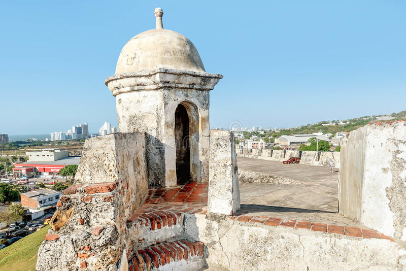 Fort San Felipe i den gamla staden Cartagena, Colombia royaltyfri foto