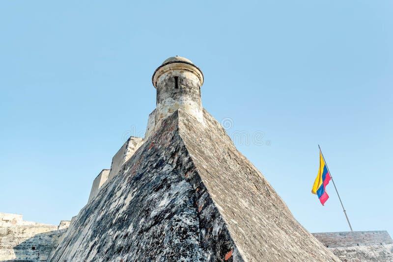 Fort San Felipe in oude stad Cartagena, Colombia stock foto's