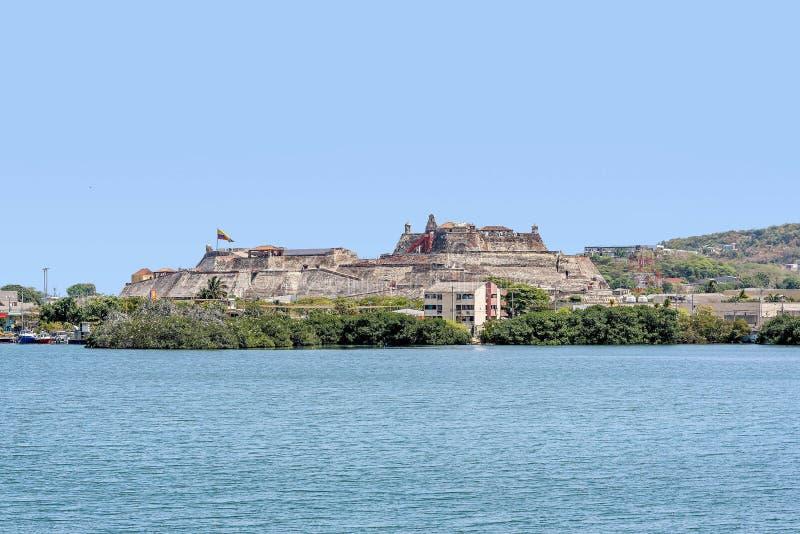 Fort San Felipe in oude stad Cartagena, Colombia royalty-vrije stock afbeelding