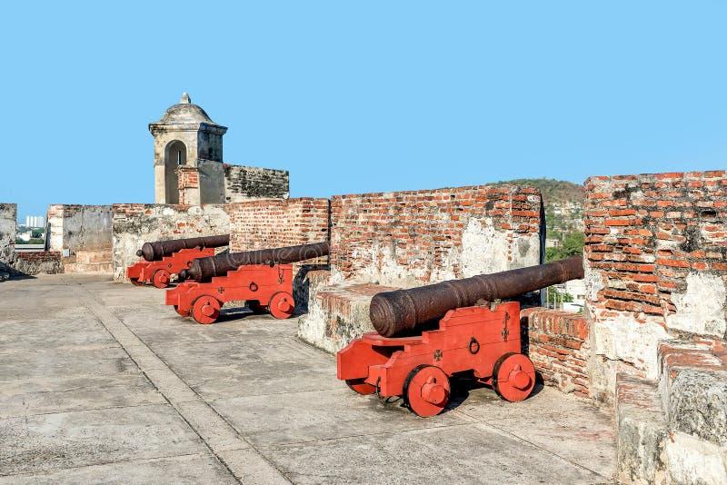 Fort San Felipe in oude stad Cartagena, Colombia stock fotografie