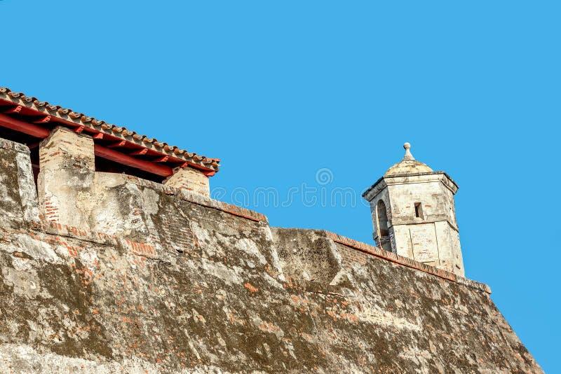 Fort San Felipe in oude stad Cartagena, Colombia royalty-vrije stock fotografie