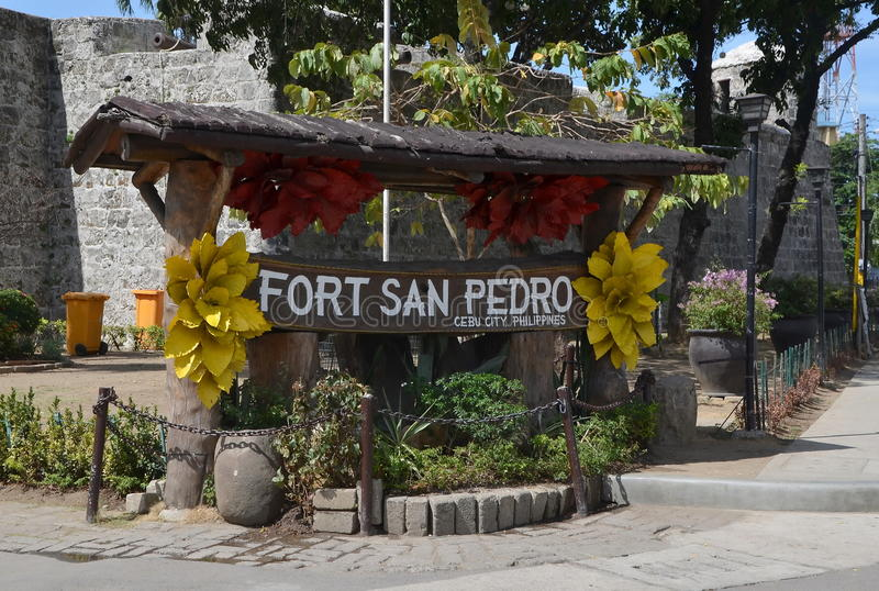 Fort San Pedro in Cebu, Philippines. Entrance to Fort San Pedro in Cebu, Philippines. Signboard stock photo