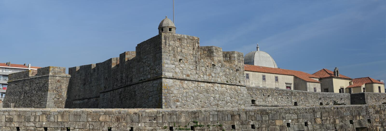 Fort of Sao Joao da Foz. Fort of Sao Joao Batista da Foz panorama. Built in the sixteenth century, is situated acrossed the Douro river mouth, Porto, Portugal stock photos