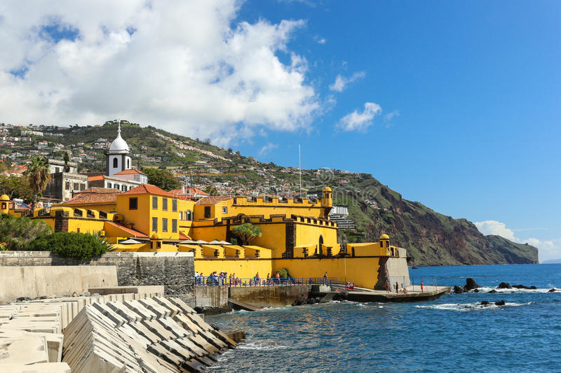 Fort Sao Tiago in Funchal (Madeira). View of the old castle Fortaleza de Sao Tiago and coastline in Funchal, Madeira, Portugal. Photo taken on: October 25rd royalty free stock photography