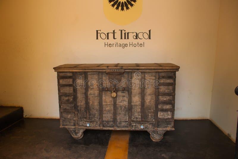 Fort Tiracol Hölzerner Kasten, Goa Indien stockfotografie