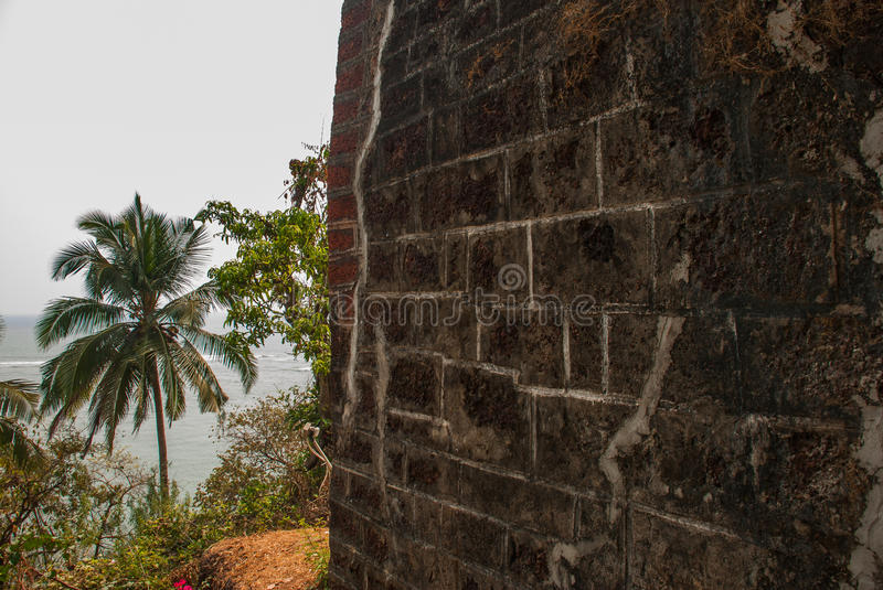 Fort Tiracol. Wall of the fortress. Goa. India. Fort Tiracol. Wall of the fortress made of stone and palm trees. Goa. India royalty free stock photos