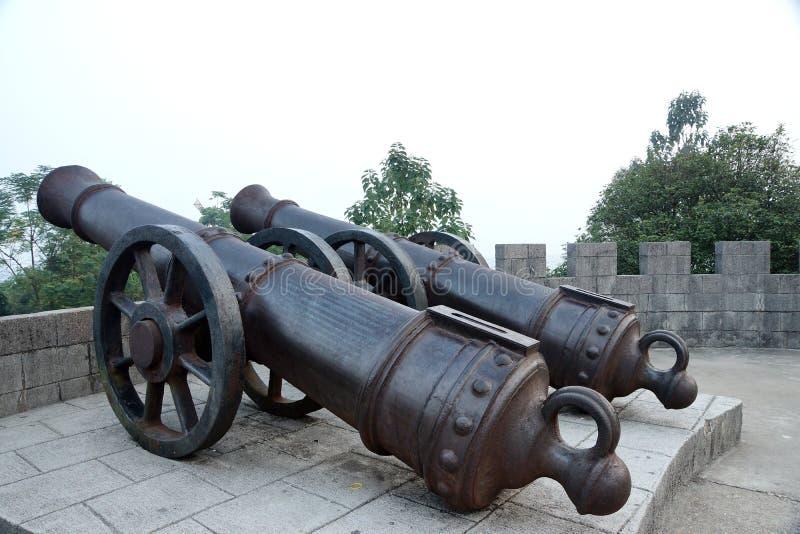 Fort van het guangxi het mengshan westen van China van het taiping hemelse grote het ijzerkanon van de koninkrijksperiode stock afbeeldingen