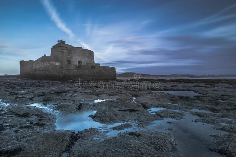 Fort Vauban at sunset. At the french opal coast, shot in long exposure stock photos
