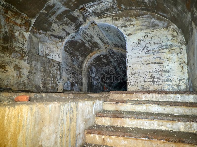 Fort of Vladivostok fortress. In the dungeon of the fort of Vladivostok fortress royalty free stock images