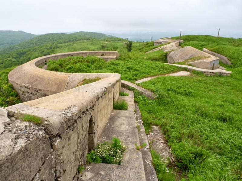 Fort of Vladivostok fortress. Vladivostok fortress Fort overgrown with greenery royalty free stock image