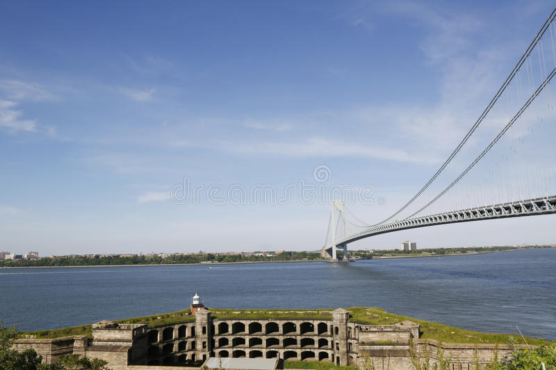 Fort Wadsworth in the front of Verrazano Bridge in New York. Fort Wadsworth is a former United States military installation on Staten Island in New York City royalty free stock image