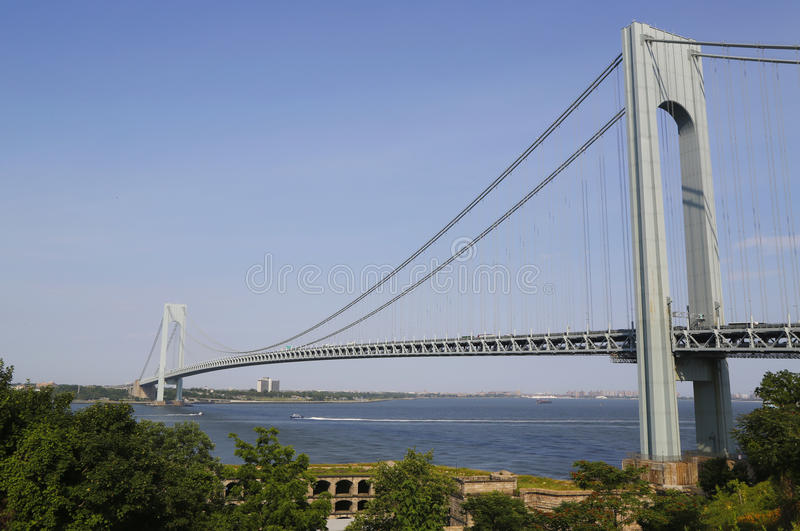 Fort Wadsworth in the front of Verrazano Bridge in New York. NEW YORK - JULY 1: Fort Wadsworth in the front of Verrazano Bridge in New York on July 1, 2014. Fort stock photography