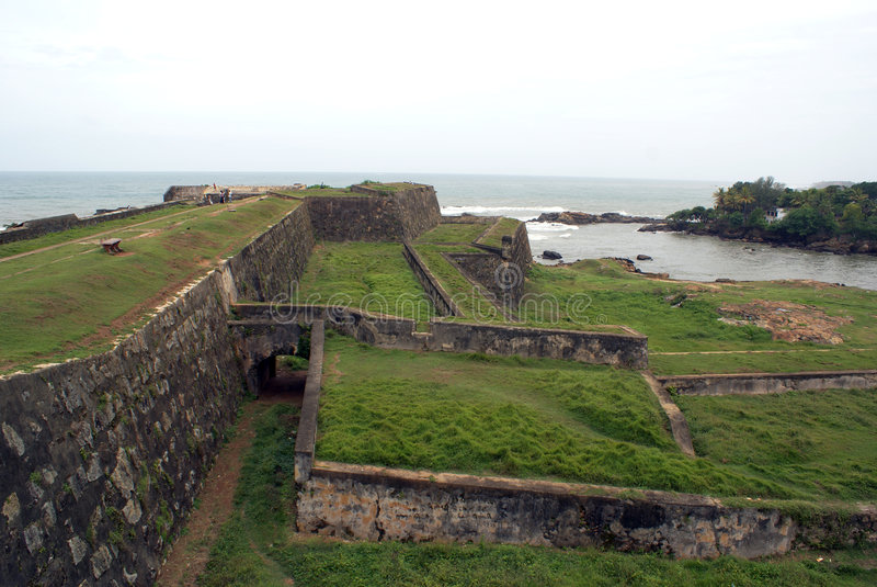 Fort wall in Galle. Fort wall and sea shore in Galle, Sri Lanka stock image