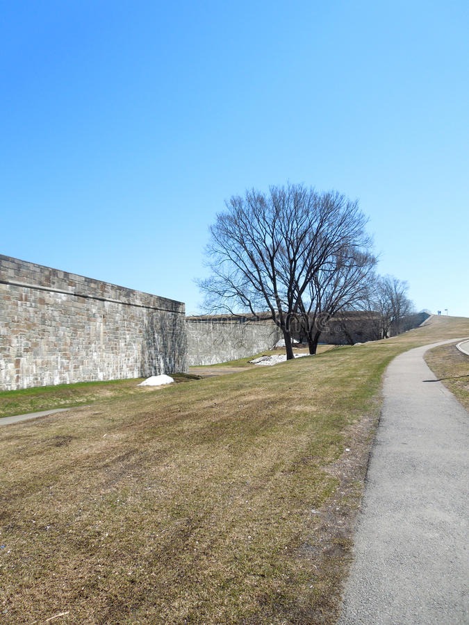 Fort wall, Quebec city, Canada. Fort wall in Quebec City, Canada on the banks of Lawrence river royalty free stock photo