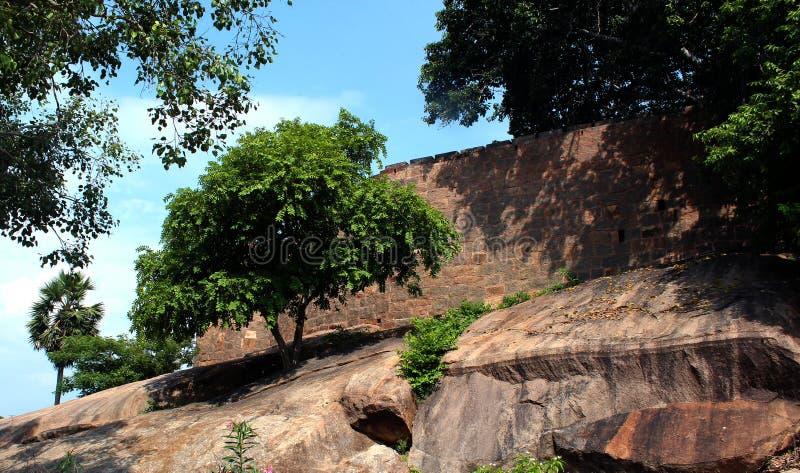 Fort wall of tirumayam royalty free stock photo