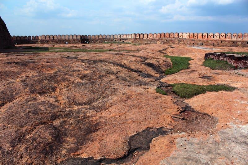 Fort wall. Fort Tirumayam, tamilnadu, india - Sethupathi Vijaya Raghunatha Tevan [1673-1708] of Ramanathapuram, popularly known as Kilavan Sethupathi, built this stock photography