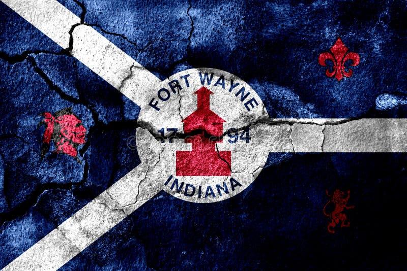 Fort Wayne, Индиана заржавел треснутый флаг, ржавая предпосылка положения америки соединили иллюстрация вектора