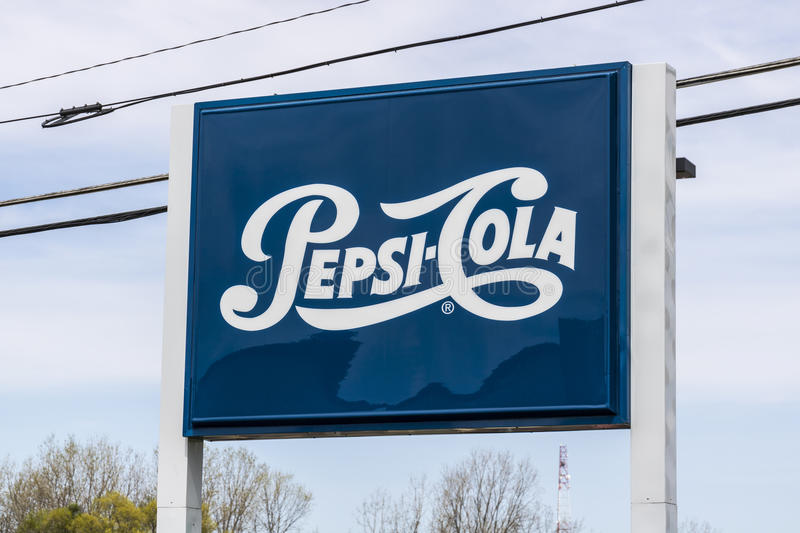 Fort Wayne - Circa April 2017: Legacy Pepsi Signage and Logo. Pepsi is one of the largest beverage producers in the world I royalty free stock photo
