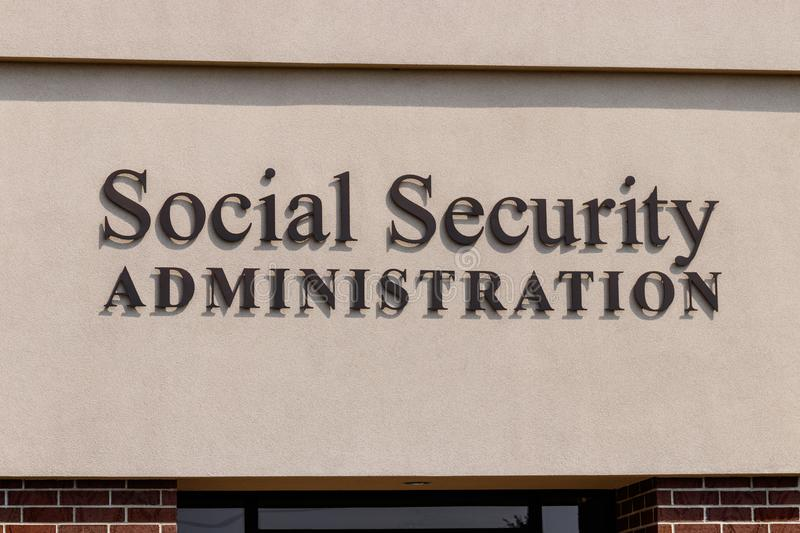 Fort Wayne - Circa August 2018: Local Branch of the Social Security Administration. The SSA administers retirement II royalty free stock image