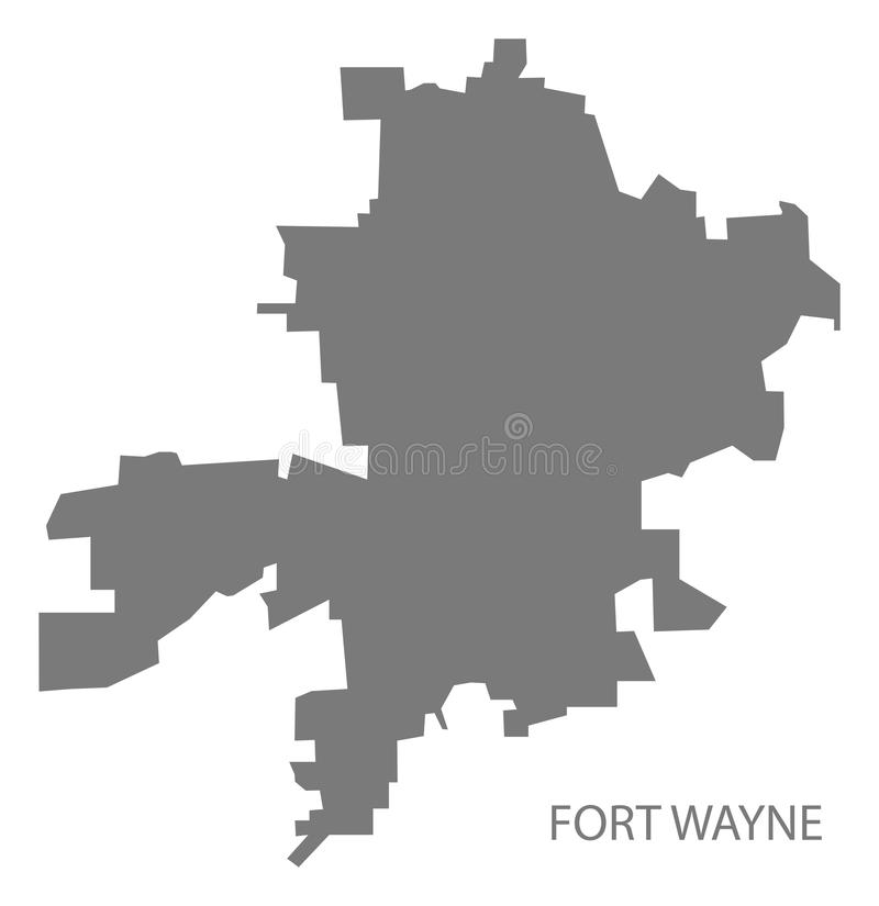 Fort Wayne Indiana city map grey illustration silhouette royalty free illustration