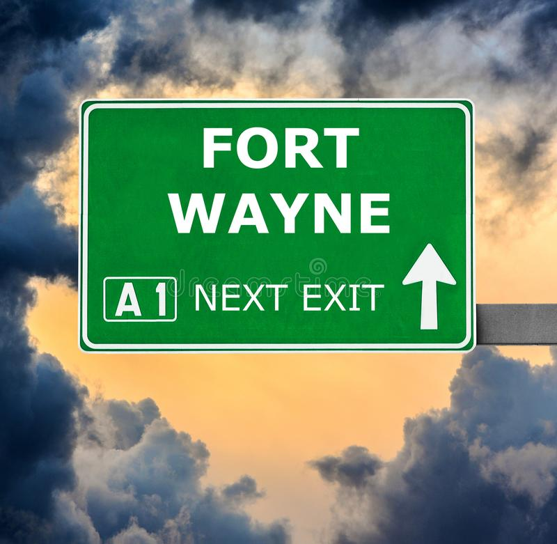 FORT WAYNE road sign against clear blue sky stock image