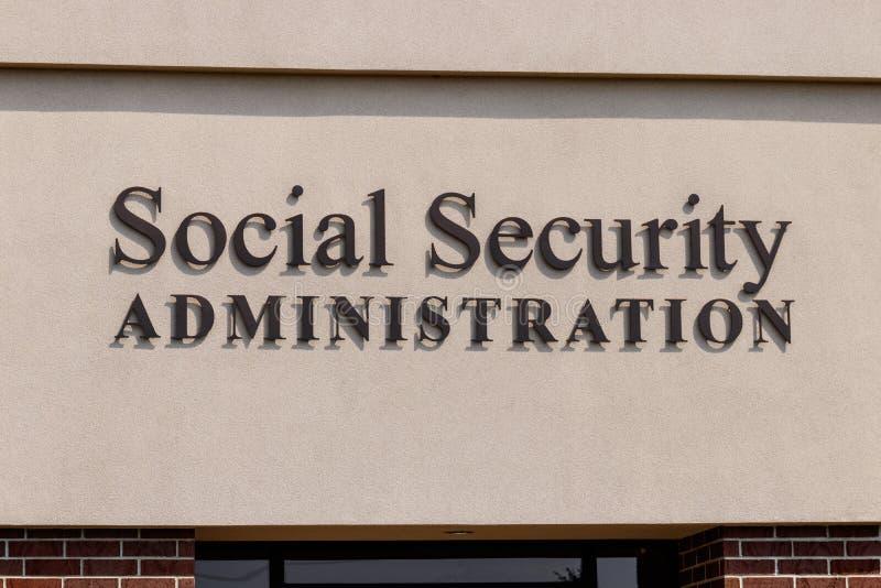Fort Wayne - vers en août 2018 : Branche locale de l'administration de la sécurité sociale L'ASS administre la retraite II image libre de droits