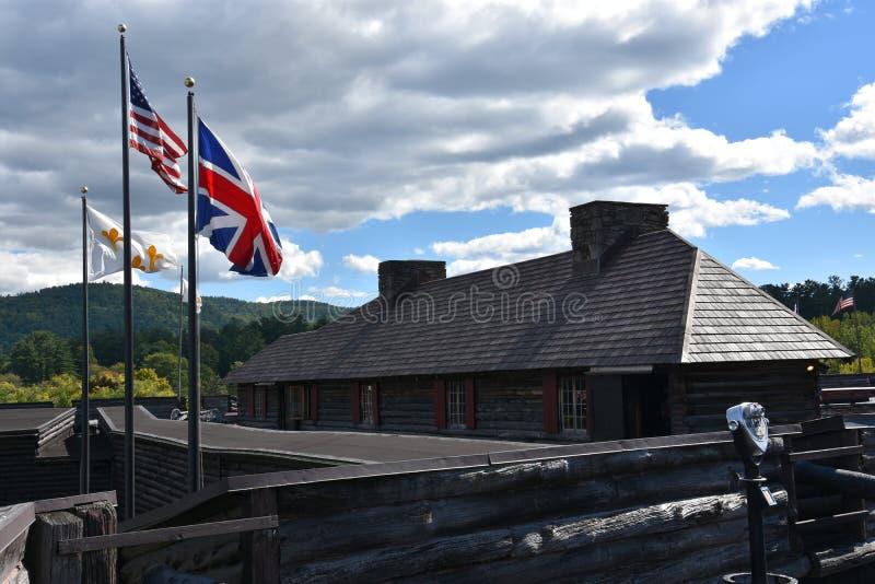 Fort William Henry im See George, New York lizenzfreie stockbilder
