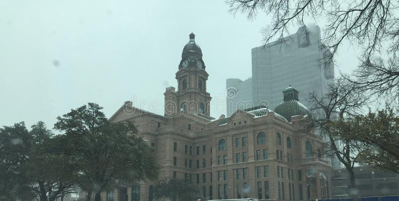 Fort Worth Courthouse Full. Snow Day in Downtown Fort Worth royalty free stock photography