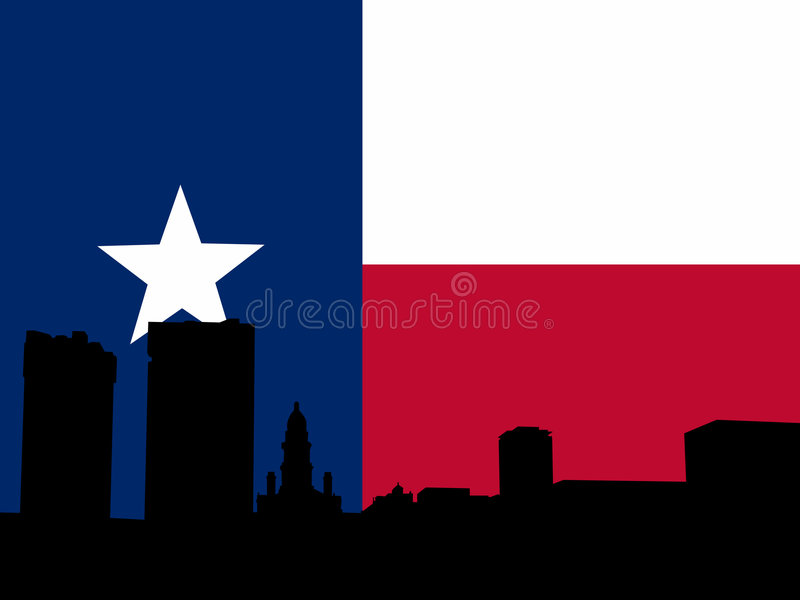 Fort Worth met Texan vlag stock illustratie