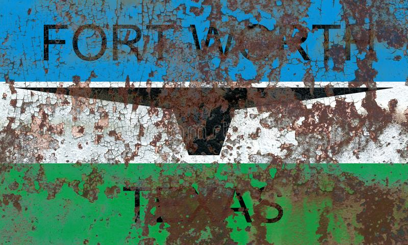 Fort Worth miasta dymu flaga, Teksas stan, Stany Zjednoczone Americ obraz stock