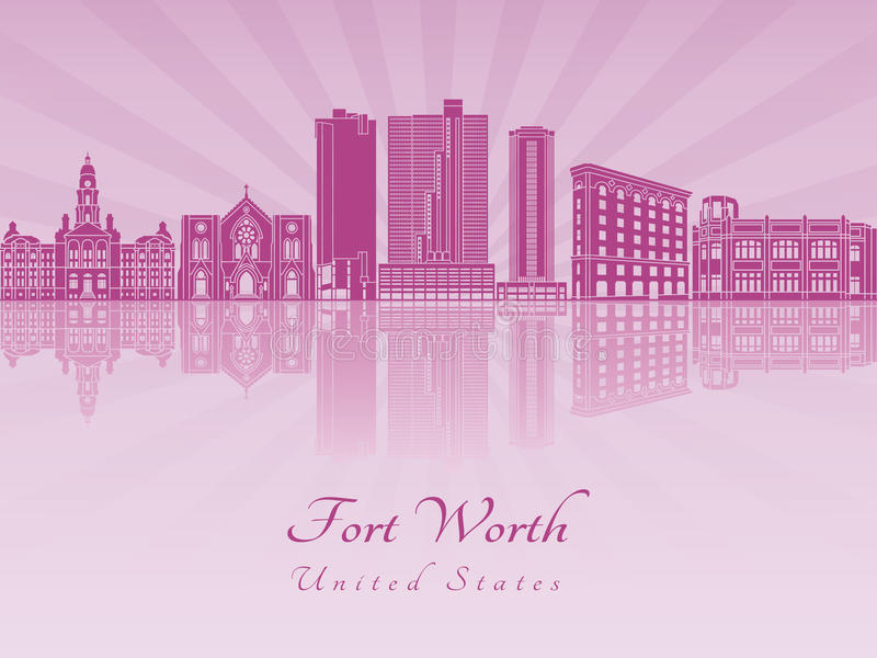 Fort Worth skyline in purple radiant orchid. In editable vector file stock illustration