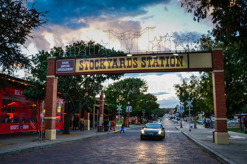 Fort Worth Stockyards. The Fort Worth Stockyards is a historic district that is located in Fort Worth, Texas, north of the central business district. The 98-acre royalty free stock images
