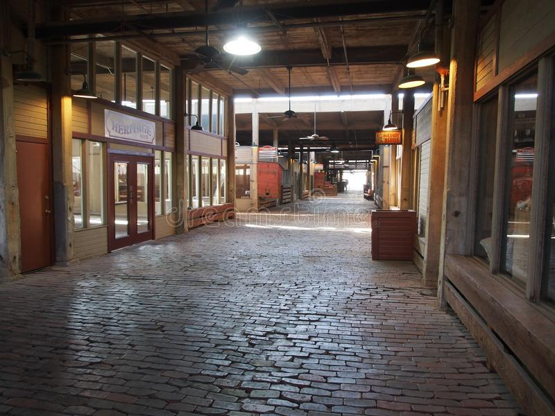 Fort Worth Stockyards. Shops now line the corridors down which millions of cattle were herded on their way from Fort Worth, Texas, to places around the United royalty free stock photo