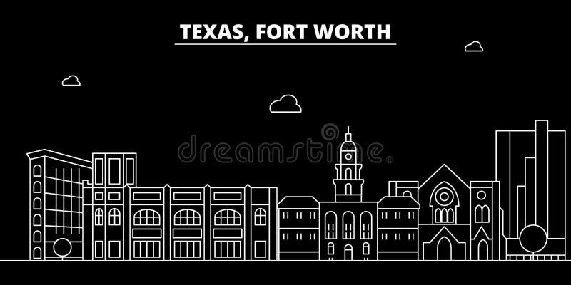 Fort Worth sylwetki linia horyzontu USA - Fort Worth wektorowy miasto, amerykańska liniowa architektura, budynki Fort Worth podró ilustracja wektor