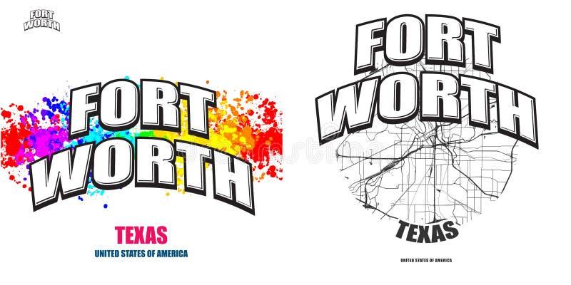 Fort Worth, Texas, duas artes finalas do logotipo ilustração do vetor