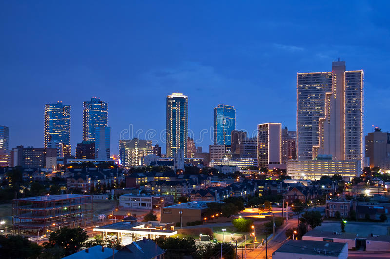 Fort Worth Texas na noite fotos de stock