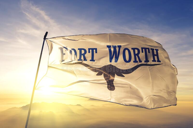 Fort Worth of Texas of United States flag waving on the top. Fort Worth of Texas of United States flag waving royalty free stock image