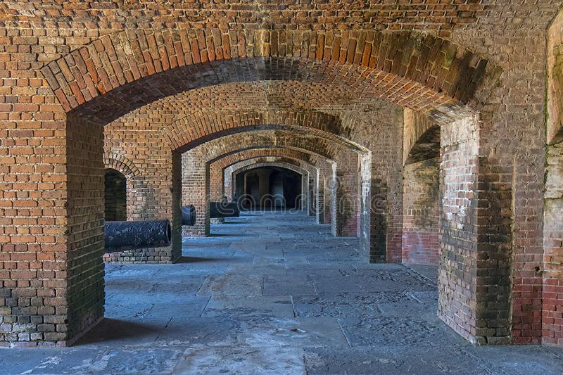 Fort Zachary Taylor Cannon Holes Archways Tunnel stock afbeelding