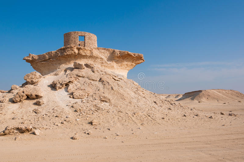 Fort in the Zekreet desert of Qatar, Middle East. Zekreet desert is a perfect place for thrill seekers and adventurers royalty free stock photo
