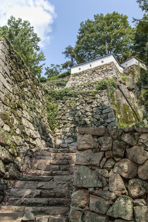Fortalecimientos del castillo en el castillo de Bitchu Matsuyama en Okayama, Japa fotografía de archivo libre de regalías