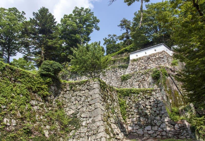 Fortalecimientos del castillo en Okayama, Japón imagenes de archivo