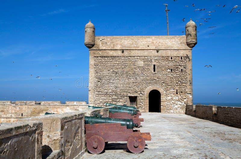 Fortalecimientos del puerto en el Essaouira FO fotos de archivo libres de regalías