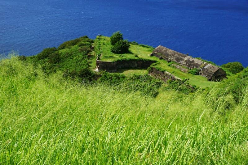 Fortalecimientos y edificios de la fortaleza de la colina del azufre con la hierba verde y el mar azul brillante fotografía de archivo libre de regalías