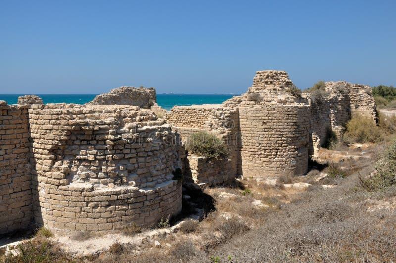 Fortaleza antigua de los cruzados cerca de Ashdod foto de archivo