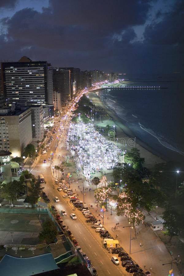 Fortaleza in Brasil by night. The Beach Beira Mar in Fortaleza in Brasil by night stock photo