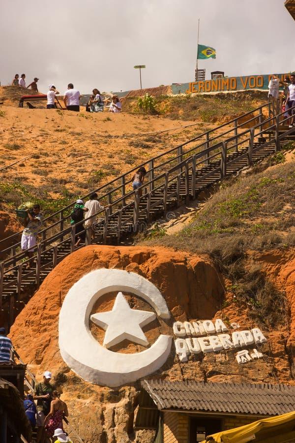 FORTALEZA BRASILIEN - JANUARI 2014: Canoa Quebrada strand, Fortalez arkivfoto