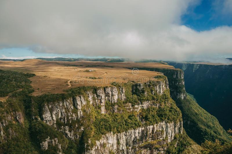Fortaleza Canyon with steep cliffs and plateau. Fortaleza Canyon shaped by steep rocky cliffs with forest and flat plateau covered by dry bushes near Cambara do royalty free stock images